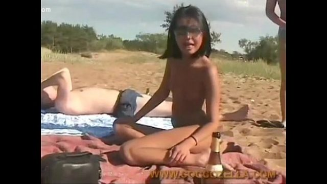 russian black hair enjoys lounging at nudist teen russian