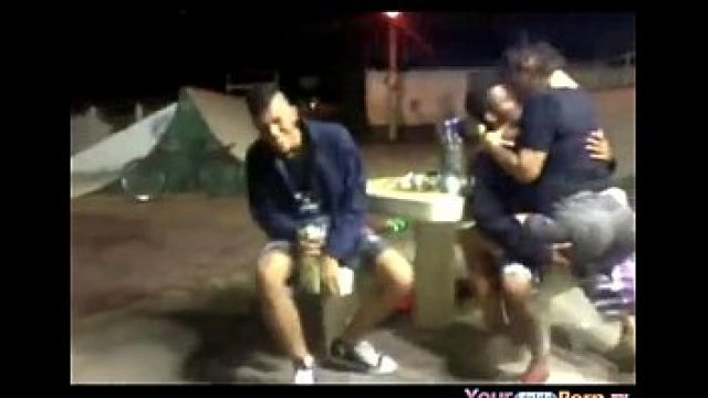 Teen Amateur young rides her bf in the skatepark in public